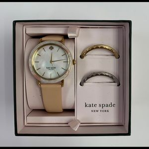 Kate Spade Interchangeable Top Ring Leather Watch